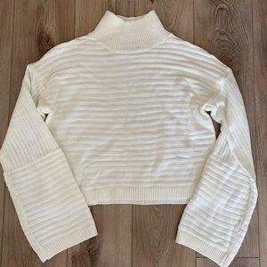 White turtleneck crop sweater